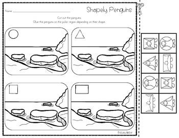 Shapely Penguins File Folder Game-Sort by 2D Shape