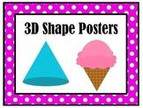 3D Shapes Posters | Preschool Kindergarten 1st Grade | Mat