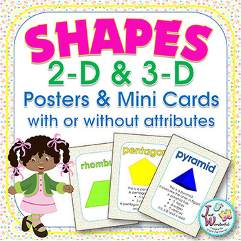 2D and 3D Shapes Posters and Reference Cards with and without attributes