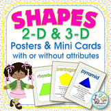2D and 3D Shapes Posters and Reference Flash Cards with an