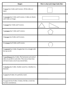 Shapes 2 Column Organizer