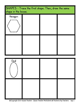 Shapes - 2D Shapes - Trace and Draw the Shapes -Kindergarten-Grade 1 (1st Grade)