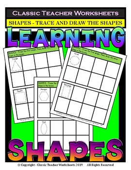 Shapes - 2D Shapes - Trace and Draw the Shapes - Grades 1-