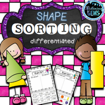 Shapes 2D and 3D Sorting - Math Worksheets & Center
