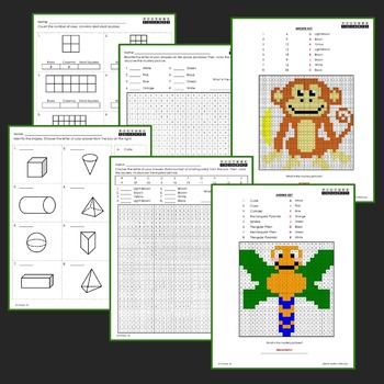 Shapes Mystery Pictures, 2nd Grade Math Worksheets