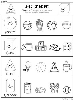 Shapes Worksheets 2d 3d Shapes Kindergarten By My Study Buddy - View 3D Shapes Kindergarten Worksheet Gif