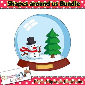 Shapes 2D 3D Clip art Bundle
