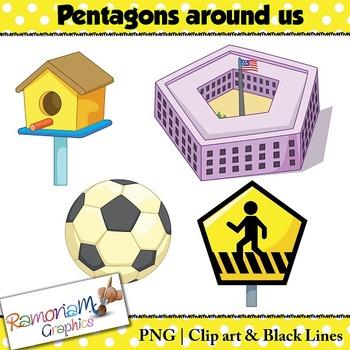 Shapes 2D 3D Pentagons Clip art