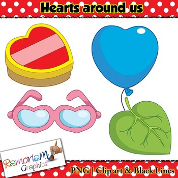 Shapes 2D 3D hearts Clip art