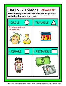 2D Shapes - Draw Objects to Match Shapes - Grades 1-3 (1st-3rd Grade)