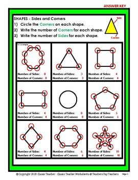 2D Shapes - Find the Number of Sides and Corners - Grades 3-6 (3rd-6th Grade)