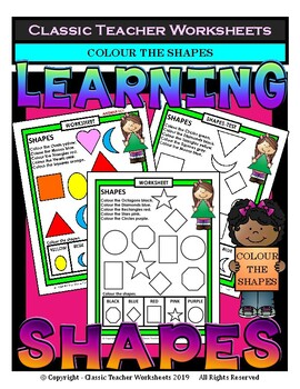 2D Shapes - Identify and Colour the Shapes - Kindergarten to Grade 1 (1st Grade)
