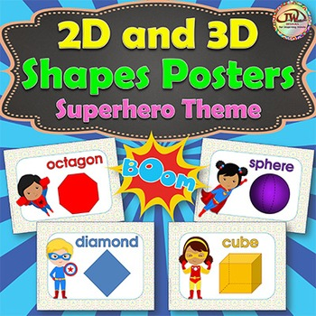 2D and 3D SHAPES Posters and Flash Cards SUPERHERO Themed
