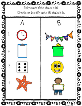 Shapes: 2D and 3D, rally coach, partner activity