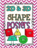 Shapes 2d & 3D Poster Set- Bright Chevron- 18 Posters!