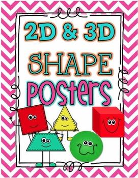 Shapes 2d & 3D Poster Set- Bright Chevron- 18 Posters!