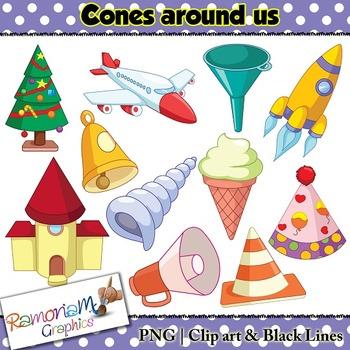 Shapes 3D Cones Clip art