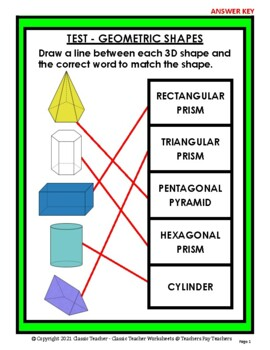3D Shapes - Match the 3D Shape to the Shape Word - Grades 3-5 (3rd-5th Grade)