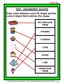 3D Shapes - Match the Objects to the 3D Shapes - Grades 2-3 (2nd-3rd Grade)