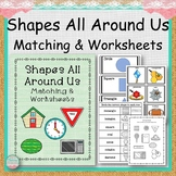 #markdownmonday Shapes All Around Us Matching and Worksheets