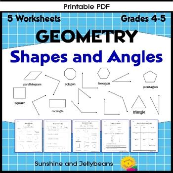 Shapes & Angles Worksheets - set of 3 - Geometry Basics