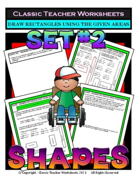 Shapes - Area - Draw Rectangles using the Given Areas-Grades 4-6 (4th-6th Grade)