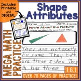 Shapes Attributes Mega Math Practice 1.G.1