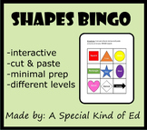 Shapes BINGO (differentiated and minimal prep!) Great for