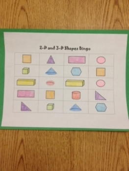 Shapes Bingo with 2-D and 3-D Shapes