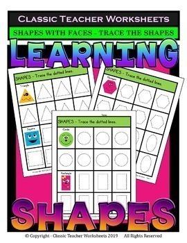 2D Shapes Bundle - Learning Shapes - Set 1 - Kindergarten 1st Grade (Grade 1)