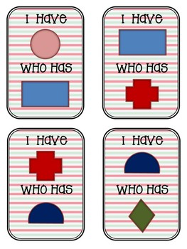 "Shapes: Cards for Game ""I have..., who has..."""