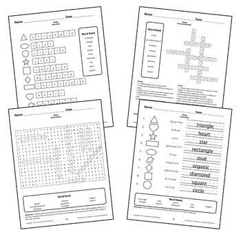 Shapes Circle Square Worksheets Activity Crossword puzzle, Word Search