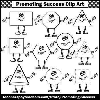 Shapes Clip Art, Happy Faces Clipart for Math Shapes Centers Bulletin Boards SPS