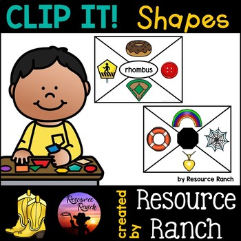 Shapes Clip Cards Math Centers
