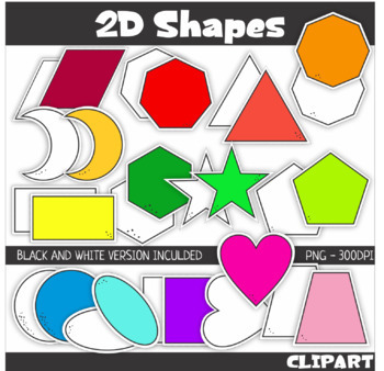 2D Shape ClipArt with Cutting Lines