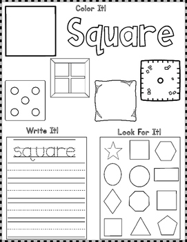 Shapes:  Color it, Write It, Look for It
