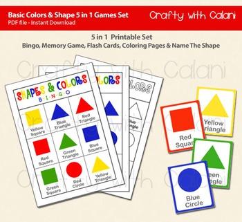 Shapes & Colors 5 in 1 Activity Set, Bingo, Flash Card, Coloring & Memory