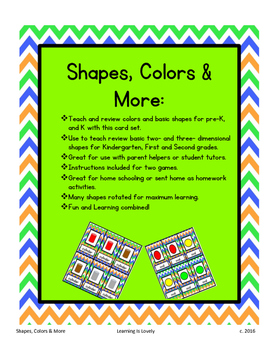 Shapes, Colors & More Cards:Teach Colors & Attributes of 2D and 3D Shapes