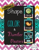 Shapes, Colors, & Number Posters  {Chalkboard Chevron Polka Dots}