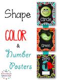 Shapes, Colors, & Number Posters  {Chalkboard Super Hero}