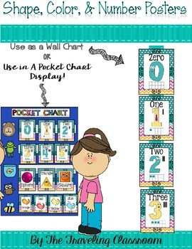 Shapes, Colors, & Number Posters  {Chevron Polka Dots}