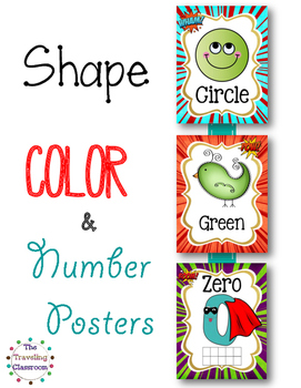 Shapes, Colors, & Number Posters  {Super Hero}