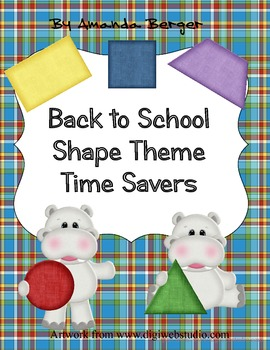 Shapes, Colors and Hippos Themed Back to School Time Savers
