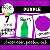 Shapes Colors and Numbers: Purple | Classroom Decor
