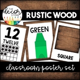 Shapes Colors and Numbers: Rustic Wood   Classroom Decor