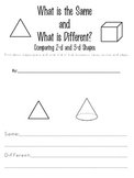 Shapes--Comparing and Contrasting 2-d and 3-d Shapes Student Booklet