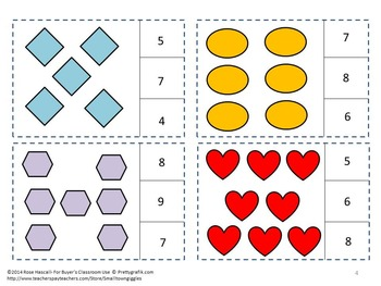 Shapes Task Cards Kindergarten Math Centers Counting to 20 Activities Autism