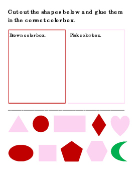 Shapes Cut Paste Color Box Red Black Pink Brown Orange Green Purple Blue 4pages