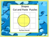 Shapes Cut and Paste, Puzzles Fine Motor Special Education Math Autism Preschool