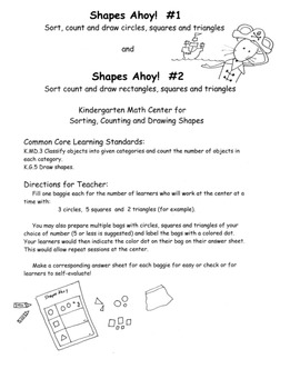 Shapes Data Centers Printable Pack of 3 Kindergarten Common Core Pirate Theme